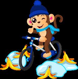 Aap op een fiets enjoy2day